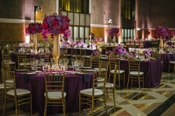 Purple and gold wedding decorations at Union Station party