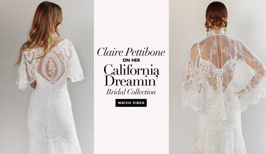 Claire Pettibone video interview YouTube California Dreamin Romantique bridal collection dresses