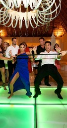 Actress Eva Longoria and host Mario Lopez dancing