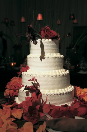 Simple four layer confection with fall flowers