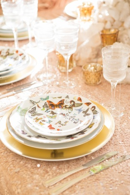 Wedding Christian Lacroix Butterfly Parade china place setting with Vendome Linear crystal stemware