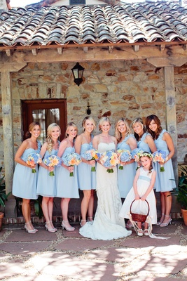 Bridesmaids and flower girl with bride