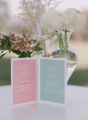 Pink and blue ceremony program with line from children's book