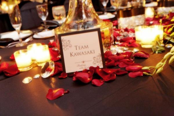 Black bordered table card named Kawasaki