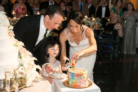 bride and groom cut rainbow cake for daughter