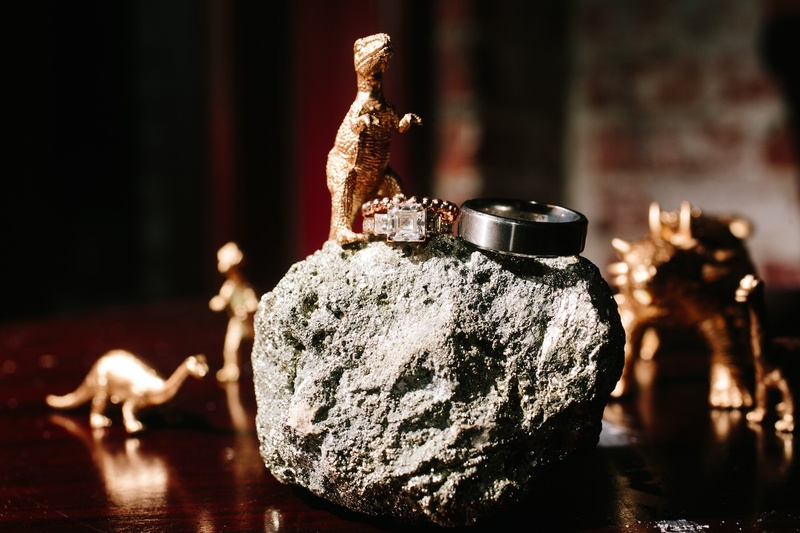 Wedding rings on rock with gold dinosaur figurines