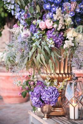 purple hydrangeas, blue flowers, pink roses, eucalyptus leaves