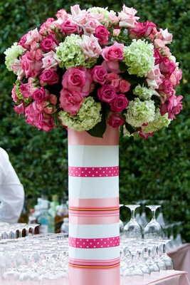 Polka dot and stripes paper-wrapped vase