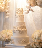 wedding reception white wedding cake with white rose flowers and desserts in white gold color scheme