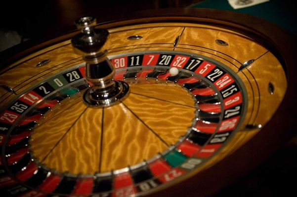 Roulette table at ballroom wedding reception