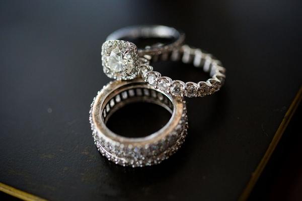 Halo engagement ring round diamond eternity band diamond wedding ring stacked bands