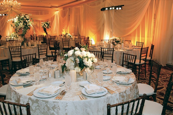Orange county wedding inspired by old world elegance inside weddings low white centerpieces and textured linens junglespirit Gallery