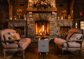 cozy cabin or cottage setting to go along with old Europe themed wedding with deep color scheme