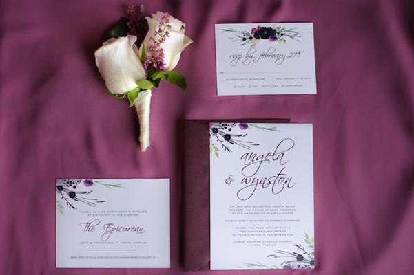 modern watercolor invitation and response card - Boutonnire Invit Mariage