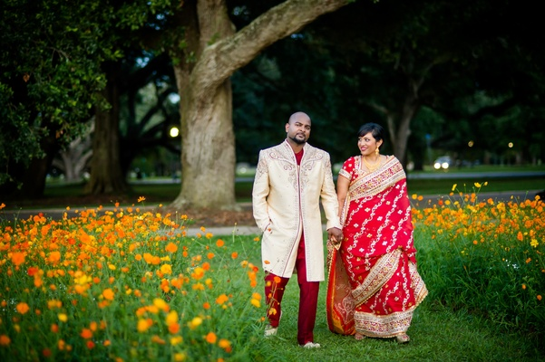 Indian bride and groom in traditional wedding attire