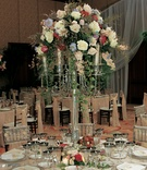 Ballroom reception space with floral candelabra