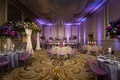 purple reception space with uplighting, ghost chairs with purple cushion