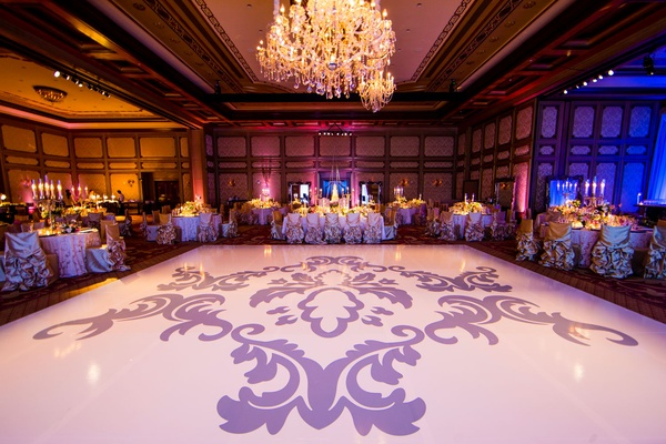 Wedding reception decal on large white dance floor lavender baby blue details
