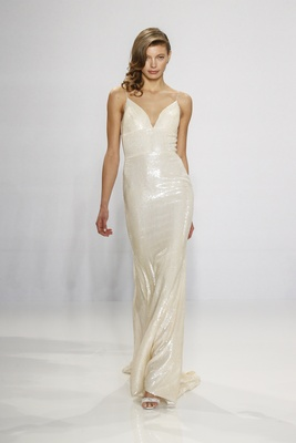 Christian Siriano for Kleinfeld Bridal sequin wedding dress slip style with spaghetti straps v-neck