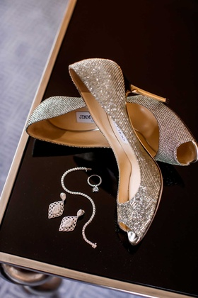 shimmering bridal accessories heels jewelry jimmy choo gold silver classic pieces dallas wedding