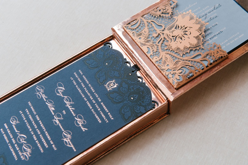 cheryl burke and matthew lawrence wedding invitation designed by lehr and black lace pattern navy
