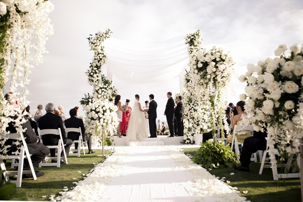 All White Indoor Wedding Ceremony Site: All-White Beach Ceremony & Sophisticated Ballroom