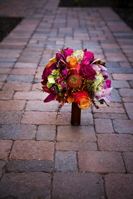 Bright color bouquet with pink and orange roses