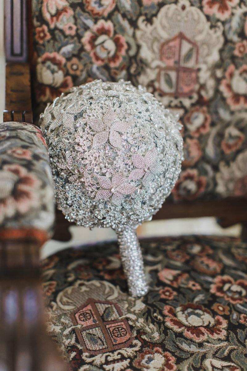 bridal bouquet made of swarovski crystals flower design but no fresh flowers