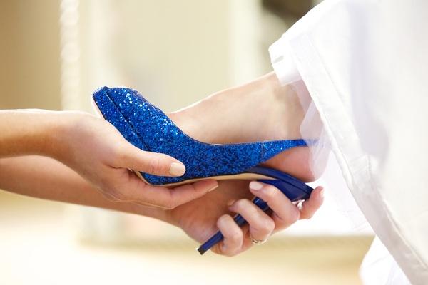 Sparkling blue glitter Jimmy Choo shoes.