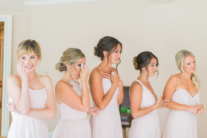 bridesmaids in pale blush tear up at sight of bride, bridesmaids in blush jim hjlem