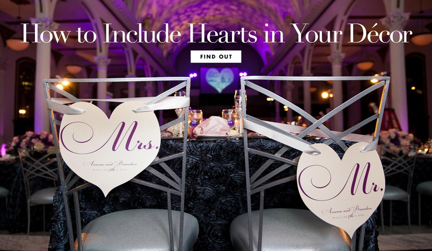 how to include hearts wedding decor valentine's day love romance ceremony reception details