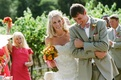 Couple laughing during recessional