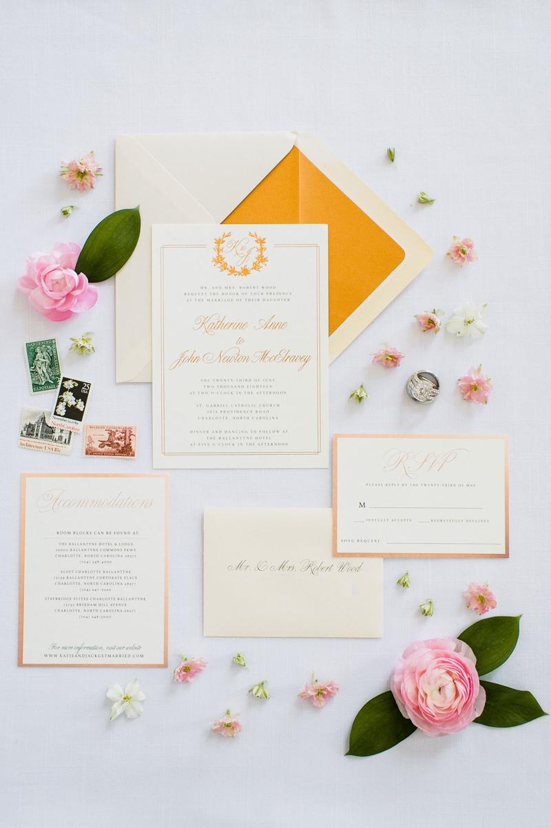 wedding invitation charlotte north carolina wedding monogram gold border orange yellow elegant foil