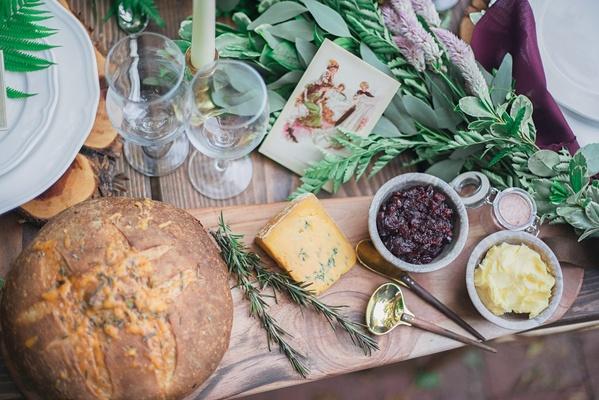 bread cheese wood board rustic celtic wedding jams sauce
