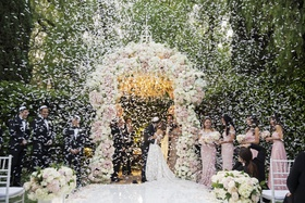 wedding ceremony first kiss as husband and wife beverly hills hotel confetti canon white pink flower
