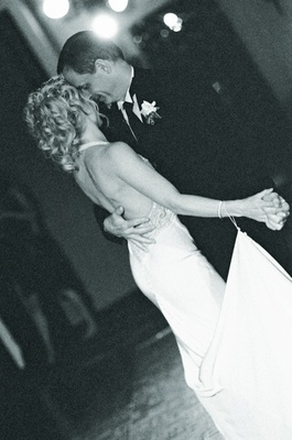 Black and white image of first dance