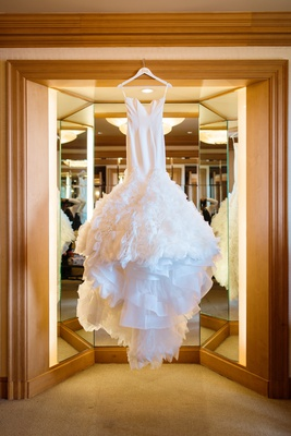 ines di santo wedding dress with ruffled mermaid skirt
