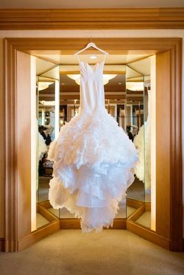 ines di santo wedding dress with ruffled mermaid skirt
