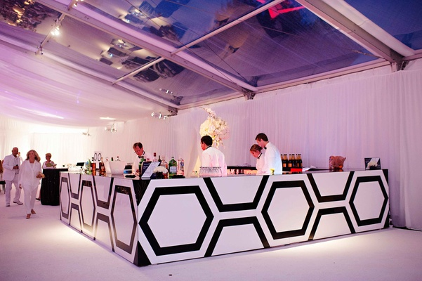 Wedding bar with custom black and white hexagon design