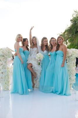 Joanna Krupa's bridesmaids in blue dresses