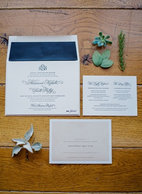 Rustic wedding navy blue wedding invite with succulents