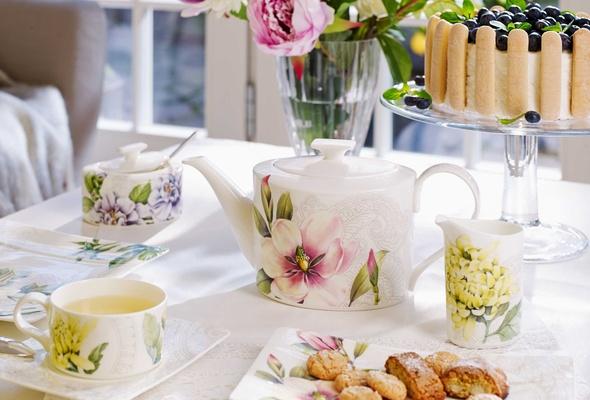 Villeroy   Boch Quinsai Garden tea cup teapot with colorful floral detailing. Pre Wedding Brunch  Spring Awakening Line from Villeroy   Boch