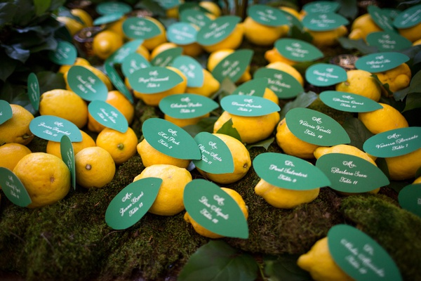 green paper leaves attached to lemon as escort card