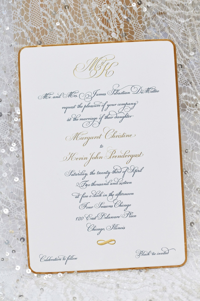 Invitations & More Photos - Gold-Rim Invitation Suite - Inside Weddings