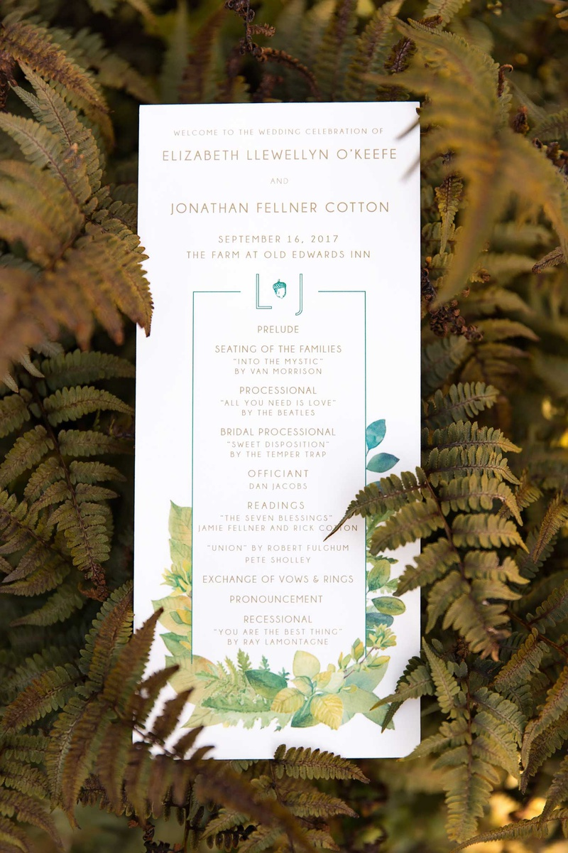 wedding ceremony program green monogram acorn leaf motif yellow blue green wedding vows readings
