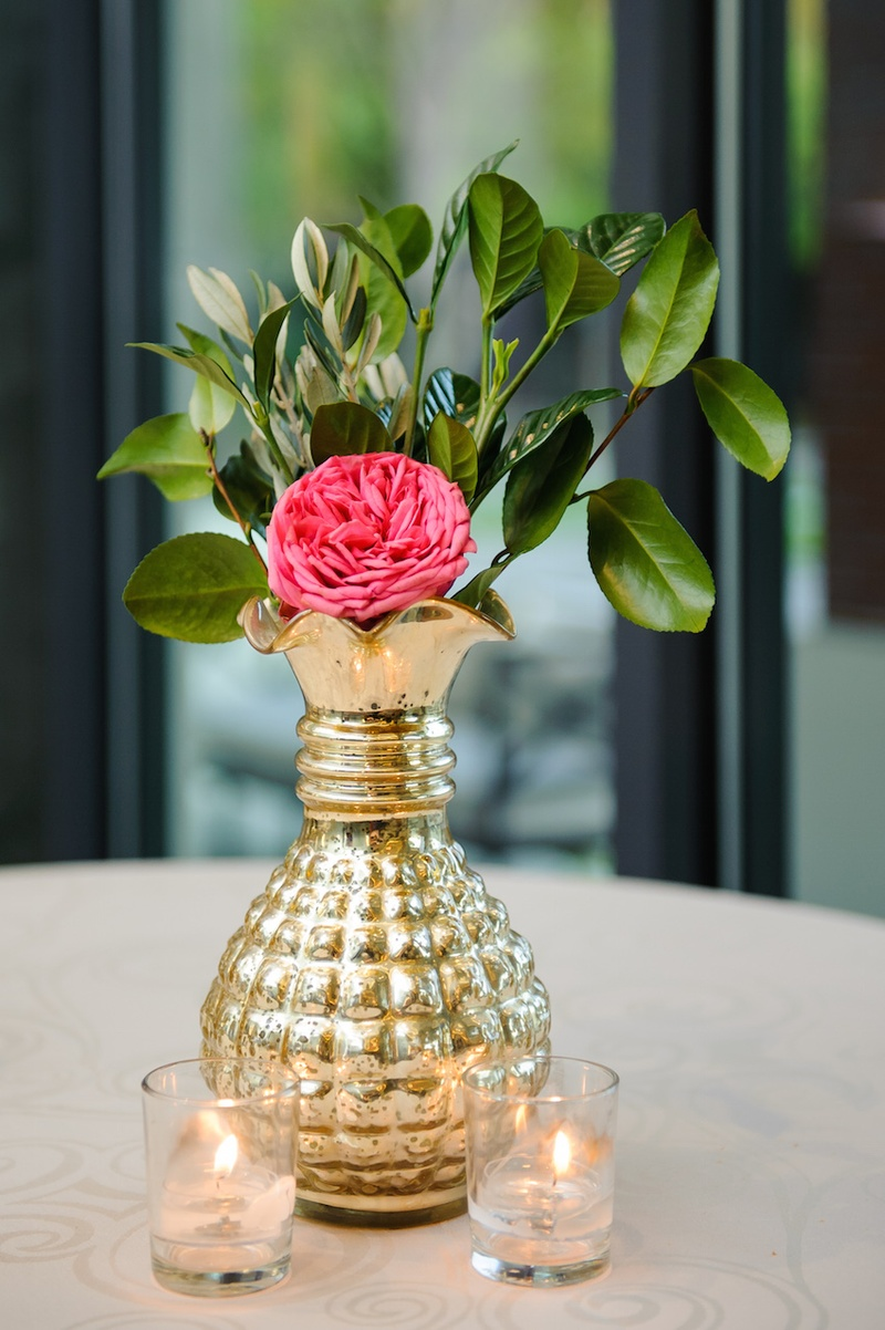 Reception dcor photos single flower in gold vase inside weddings mercury glass vessel filled with leaves and rose reviewsmspy