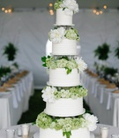 Five layer wedding cake with green hydrangea and white peony flowers between each tier