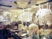 Ballroom wedding with drapery walls white orchid candle centerpieces rose hydrangea centerpieces