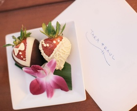 Bride and groom designed strawberry desserts