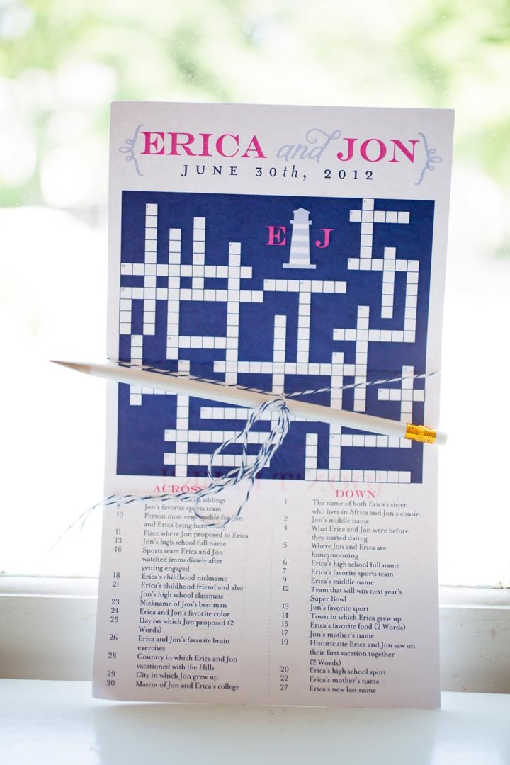 Welcome bag custom crossword puzzle with pencil